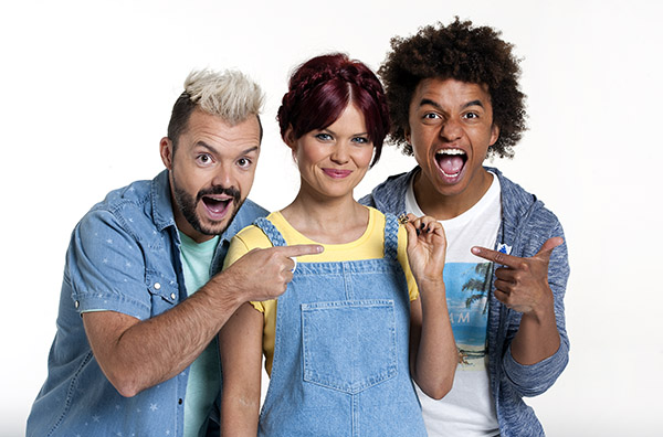 Current BBC Blue Peter Presenters Barney, Lindsey & Radzi photographed at The Big Shed Studio, Manchester. CBBC Blue Peter presenters tv stills photographer