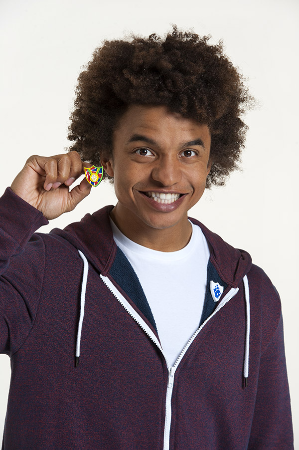 Blue Peter badge and TV show presenter Radzi. CBBC Blue Peter presenters tv stills photographer