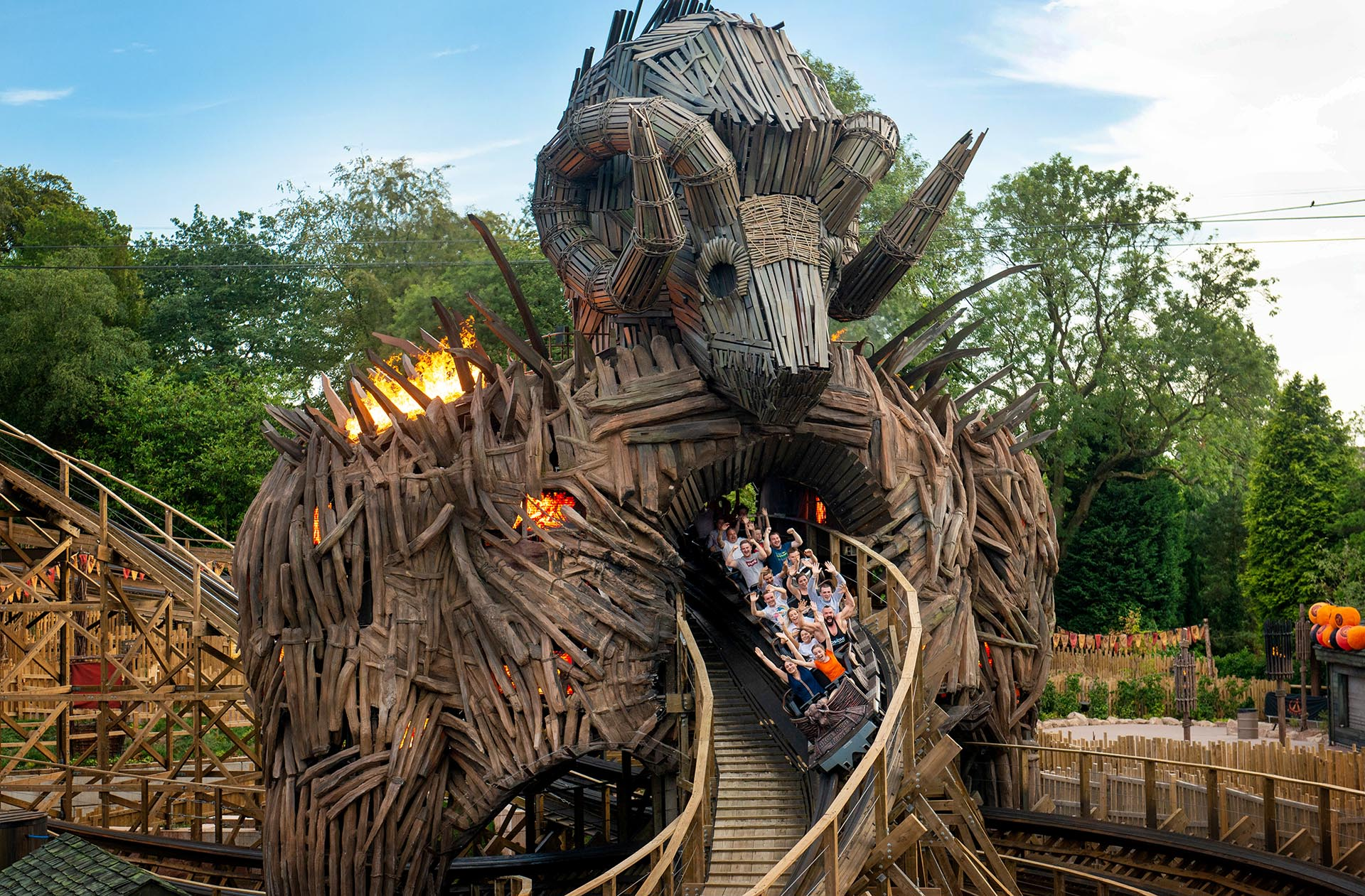 People scream on a rollercoaster at Alton Towers theme park.
