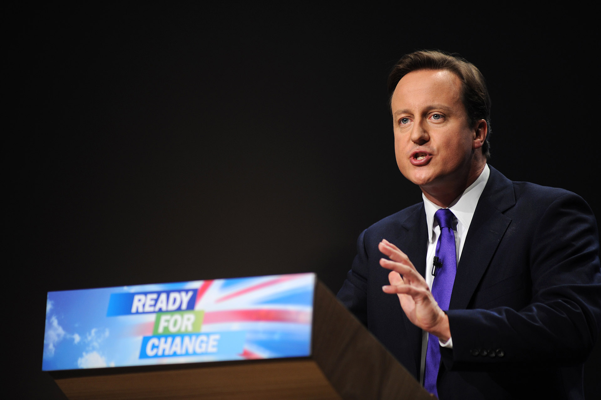 Photograph of David Cameron Speaking at Conservative Party Conference in Manchester, event photographer Jon Parker Lee