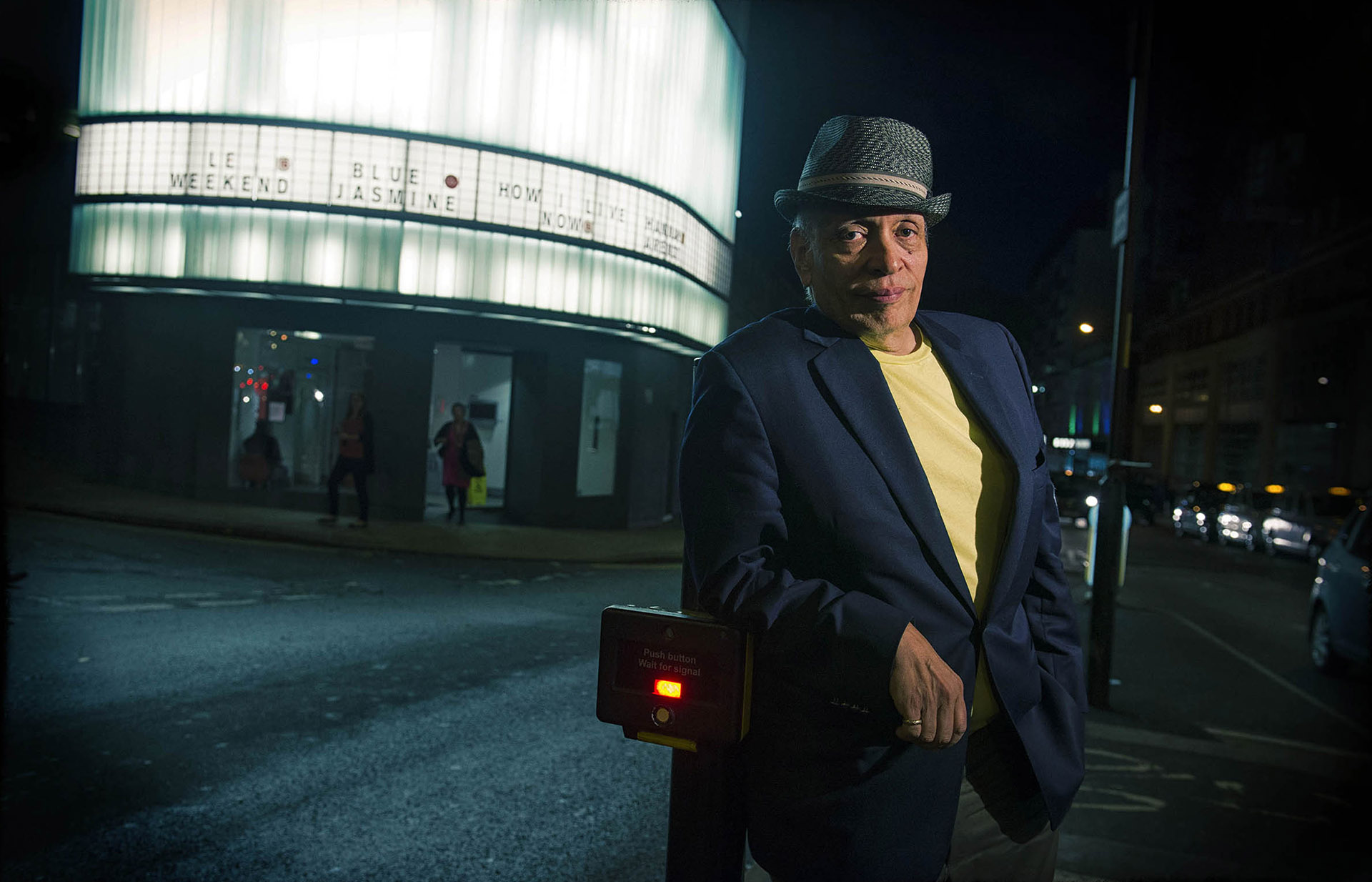 Photograph of Author Walter Mosley outside Cornerhouse Manchester author photographer Jon Parker Lee