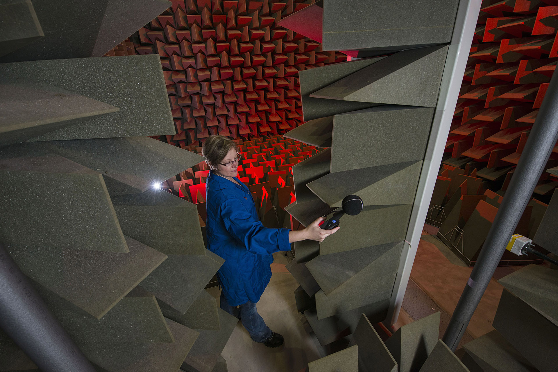 Scientist uses an anechoic chamber, a room designed to completely absorb reflections of either sound