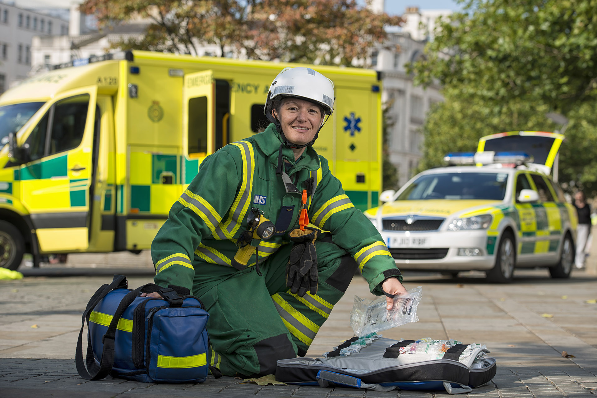 Photograph of female paramedic at North West Ambulance Service Manchester PR Photography Jon Parker Lee