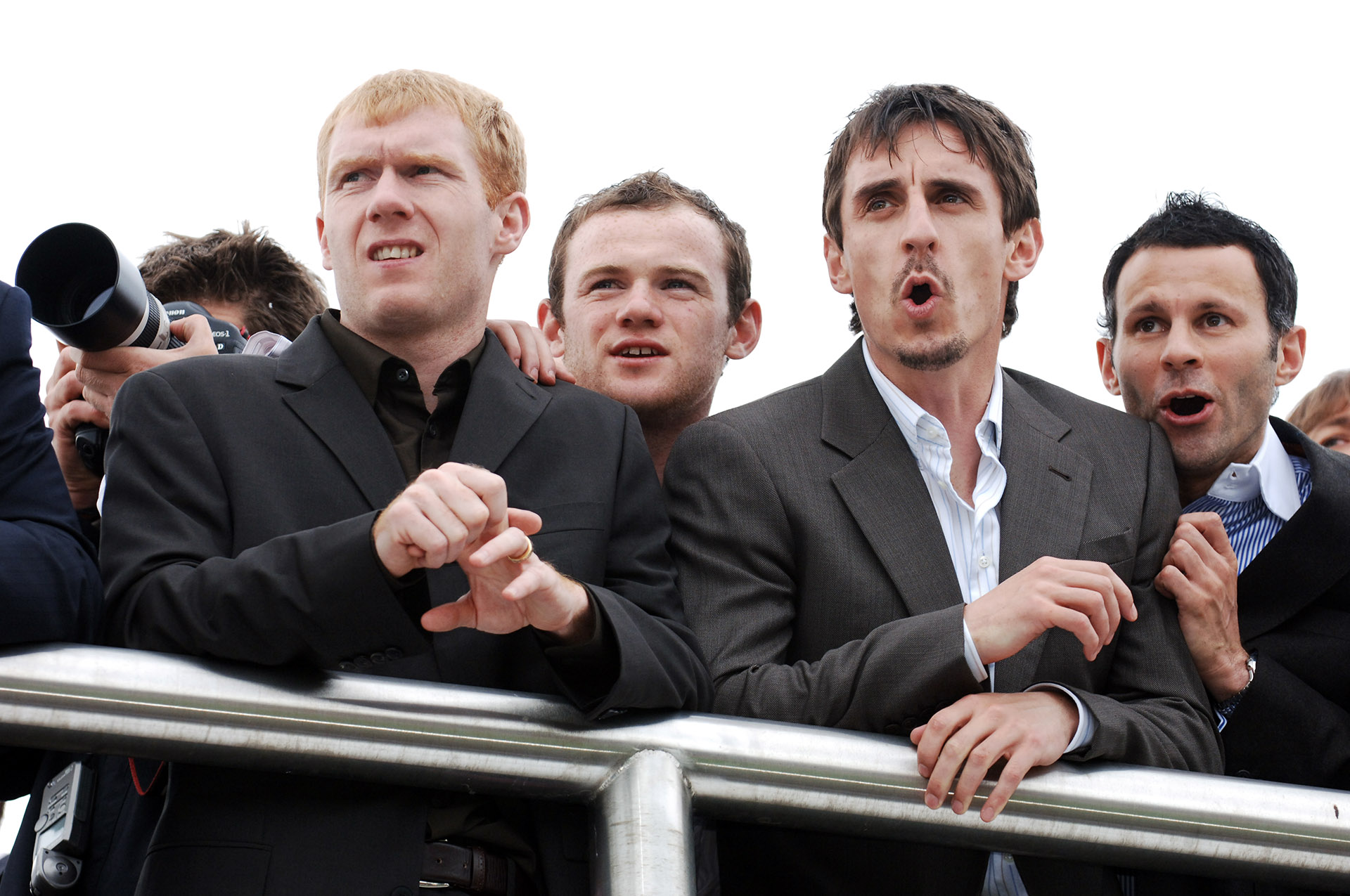 Press Photograph of Manchester United Footballers Wayne Rooney, Ryan Giggs, Paul Scholes, Gary Neville at Aintree Racecourse Liverpool, Press Photographer Jon Parker Lee