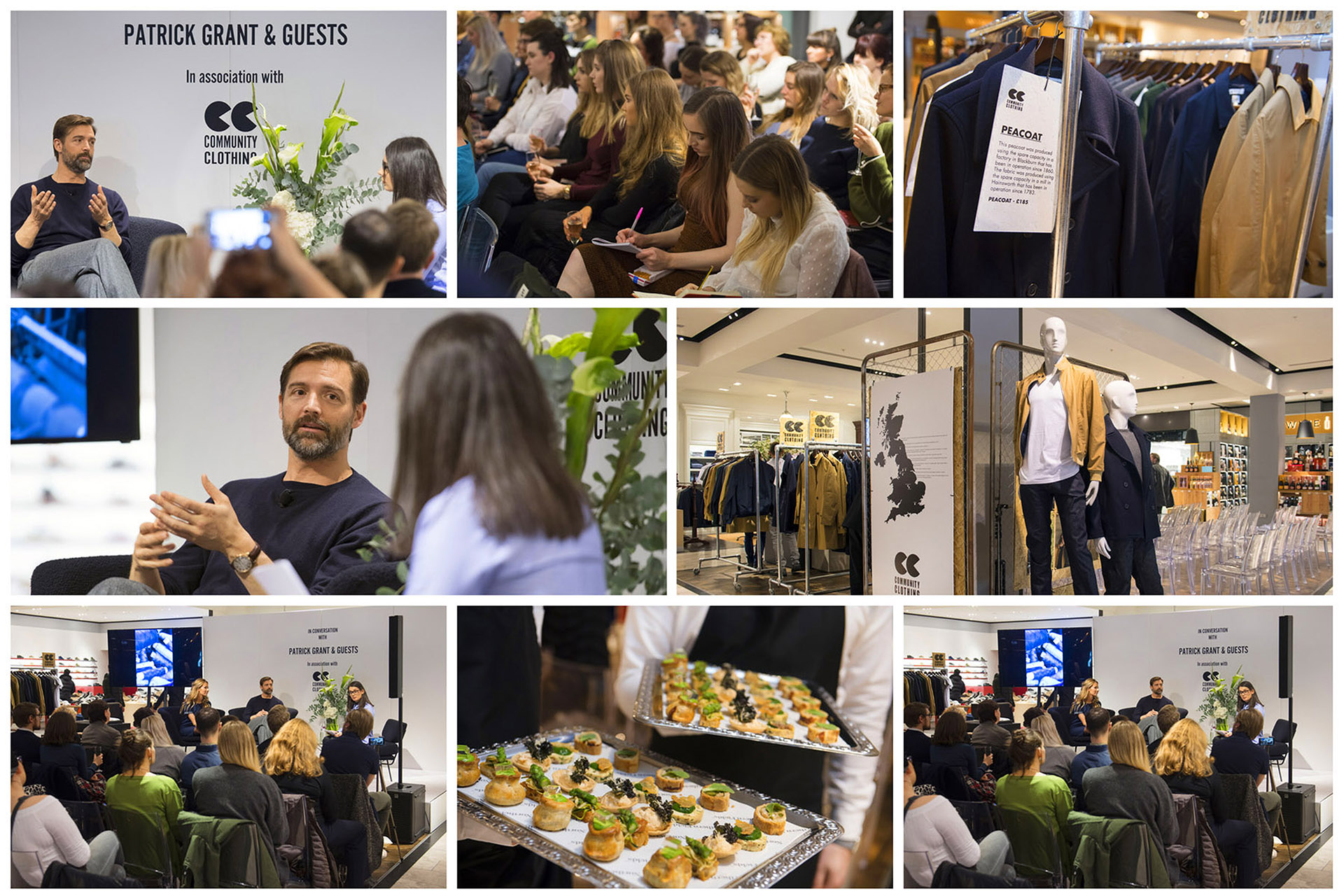 Photograph of montage of shots from Community Clothing event at Selfridges with Patrick Grant, Event Photography by Jon Parker Lee