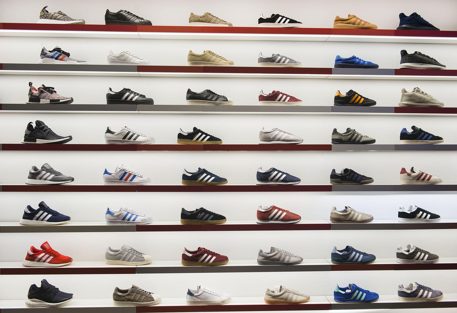 Adidas trainer display, Selfridges Manchester, Fashion photography Jon Parker Lee