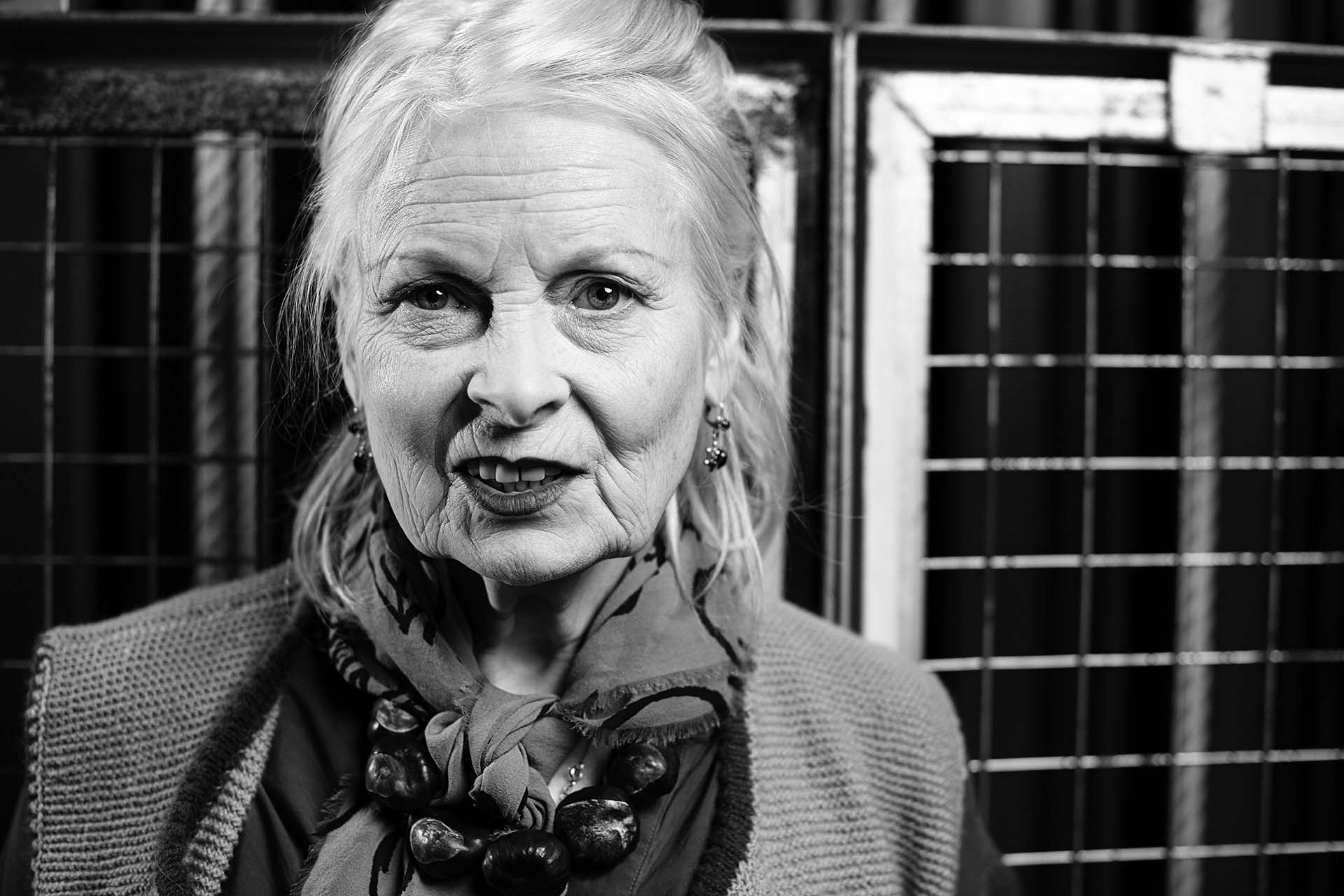 Photograph of fashion designer Vivienne Westwood black and white portrait photography Jon Parker Lee uk