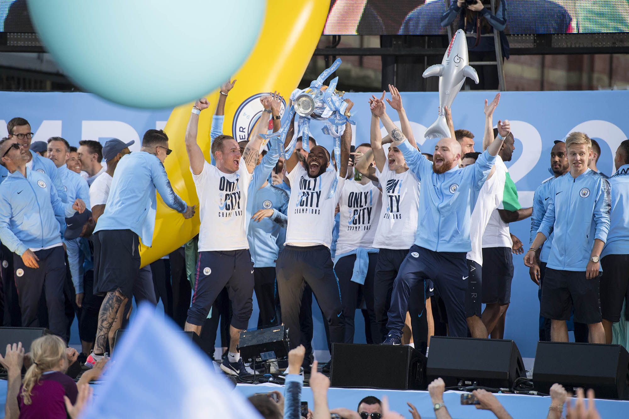 Image ©Licensed to Manchester Evening News / Jon Parker Lee Manchester City celebrate their historic FA Premier League title win with a trophy parade through the streets of Manchester on Monday 14 May 2018. Picture by Jon Parker Lee