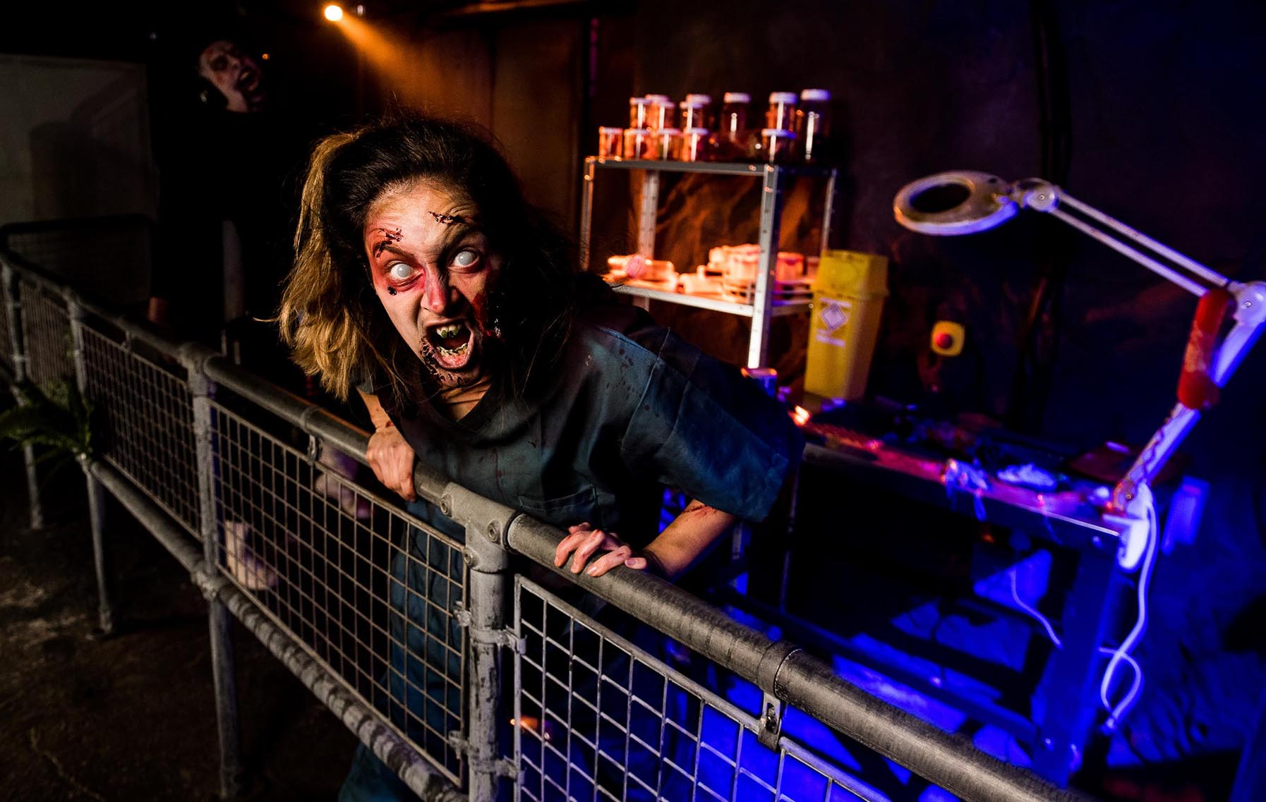 A zombie character performs at Alton Towers' Scarefest